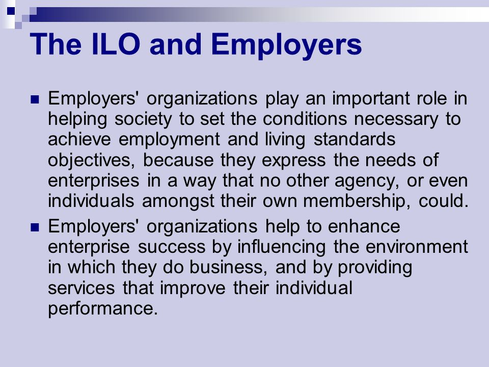 The ILO and Employers