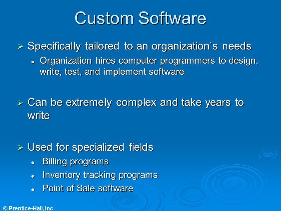 Custom Software Specifically tailored to an organization's needs