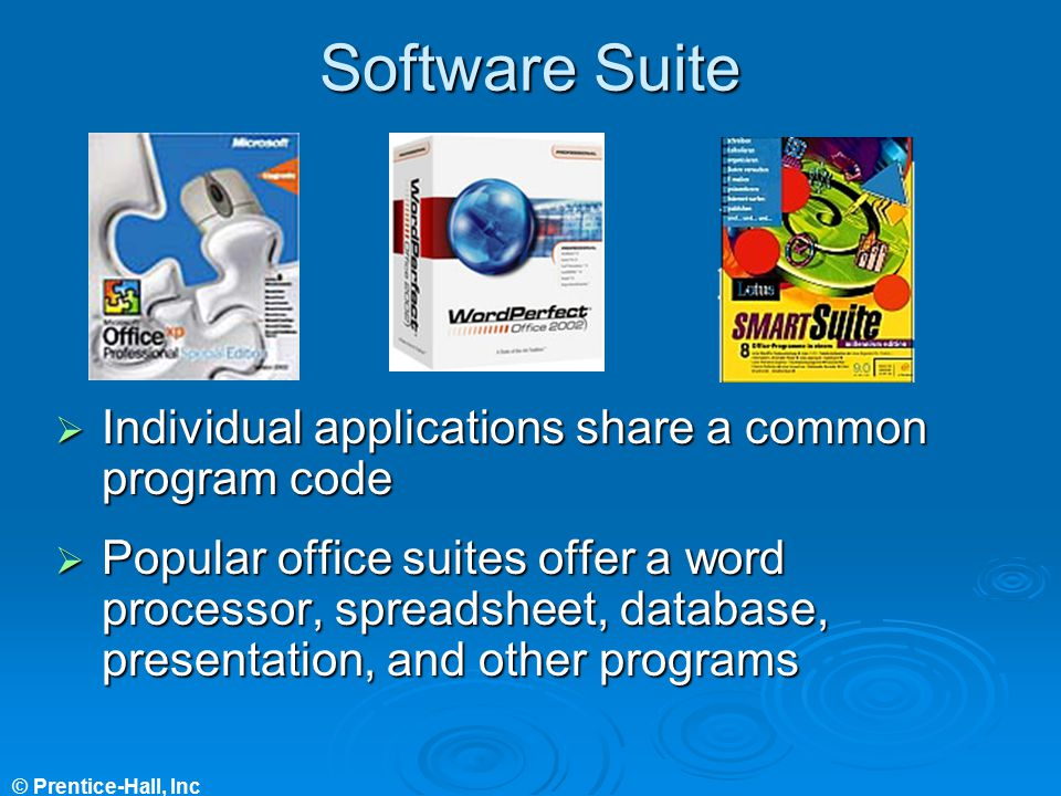 Software Suite Individual applications share a common program code