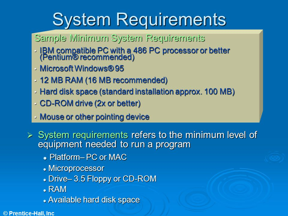 System Requirements Sample Minimum System Requirements