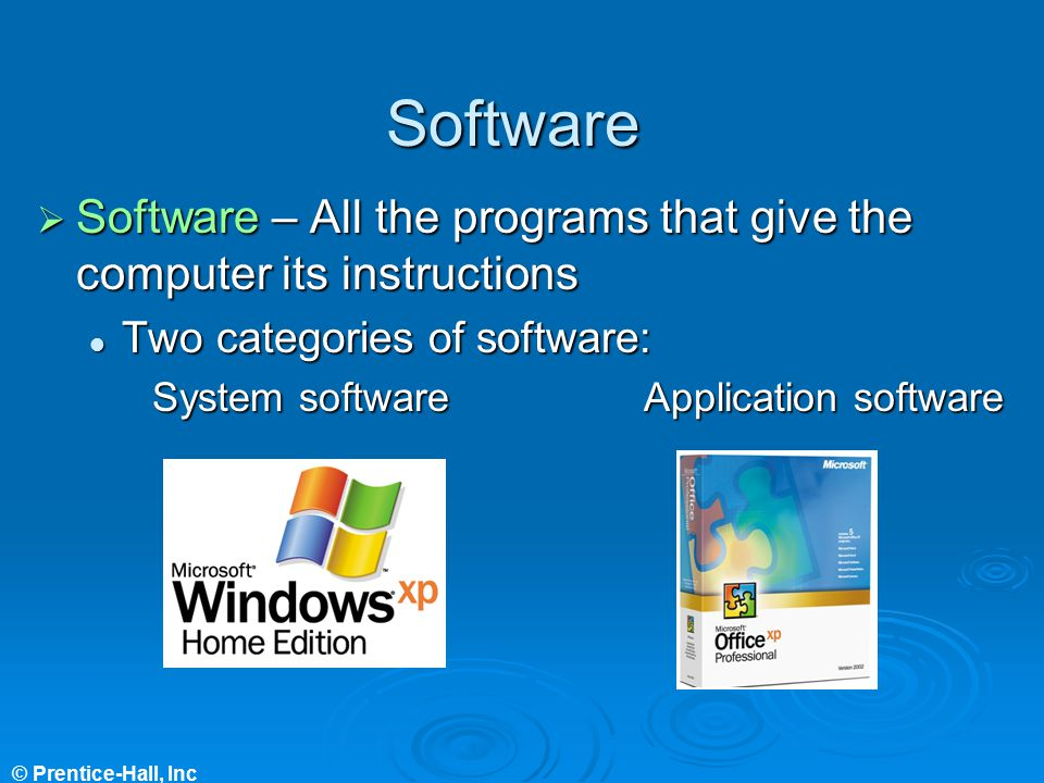 Software Software – All the programs that give the computer its instructions. Two categories of software: