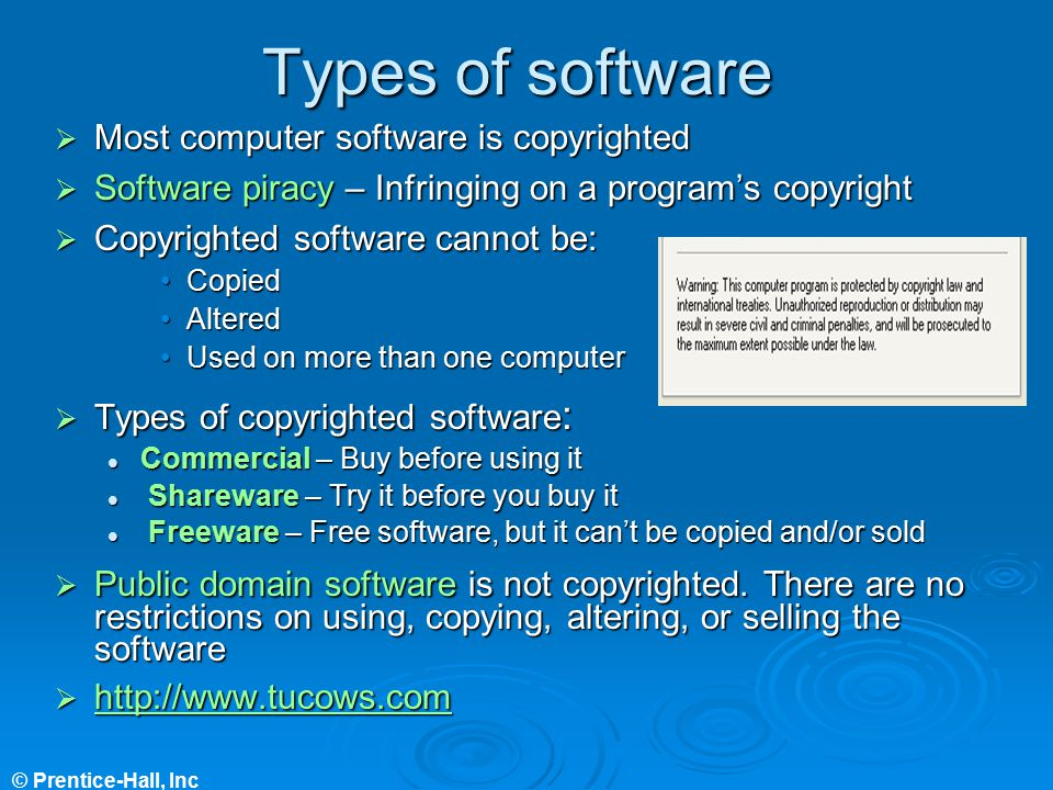 Types of software Most computer software is copyrighted