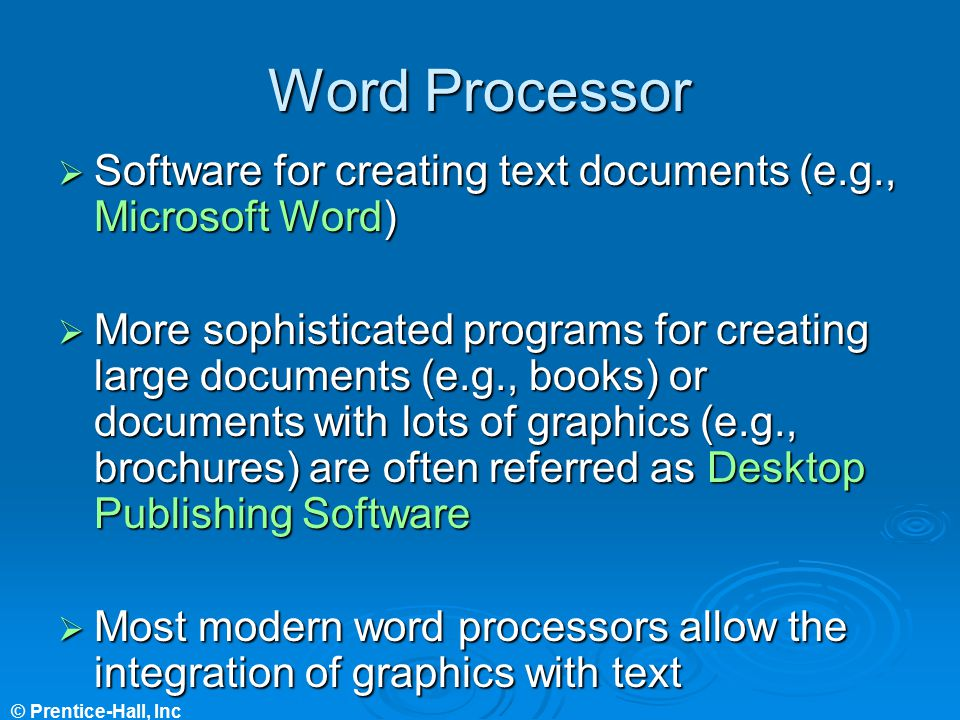 Word Processor Software for creating text documents (e.g., Microsoft Word)