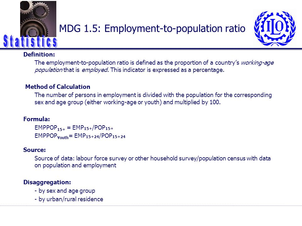 MDG 1.5: Employment-to-population ratio