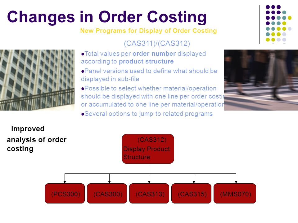 Changes in Order Costing