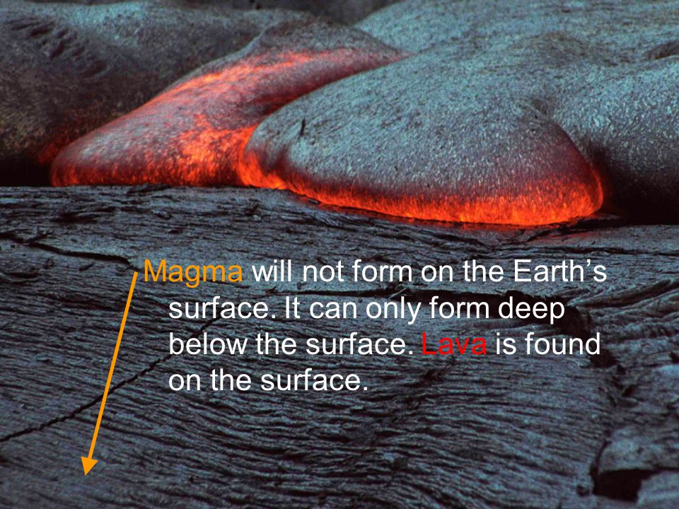 Magma will not form on the Earth's surface