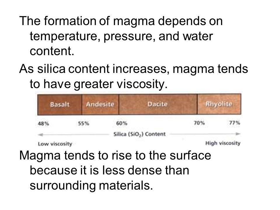 The formation of magma depends on temperature, pressure, and water content.