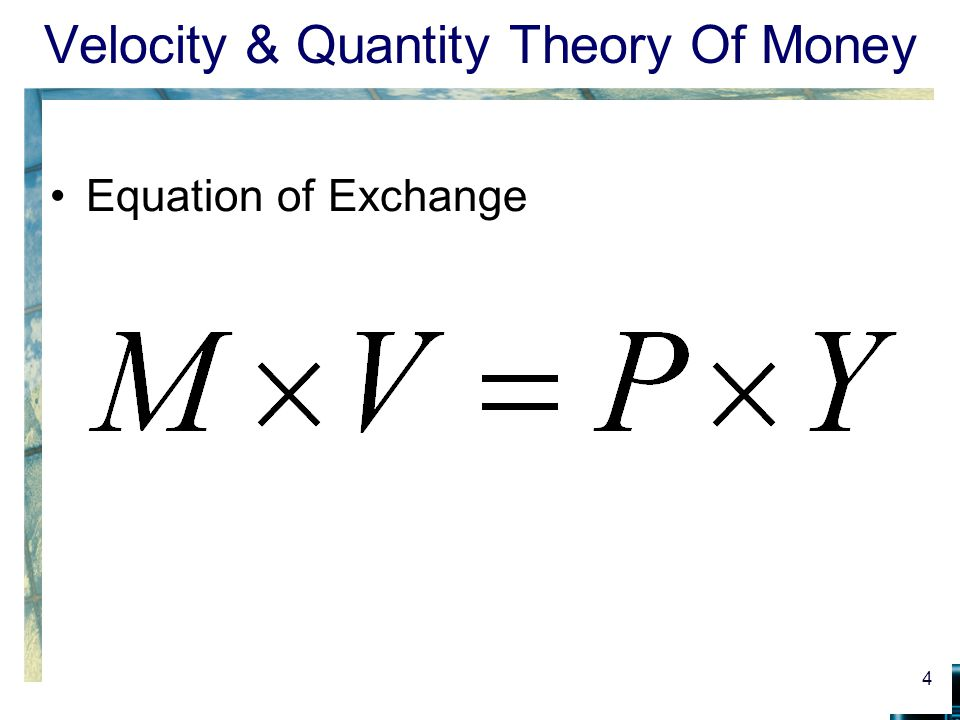 determinants of velocity of money The mainstream view of money velocity  this way of thinking it would appear  that velocity is an important determinant of the value of money.