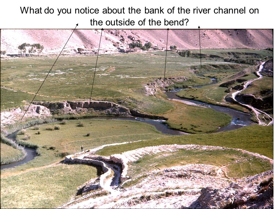 What do you notice about the bank of the river channel on the outside of the bend