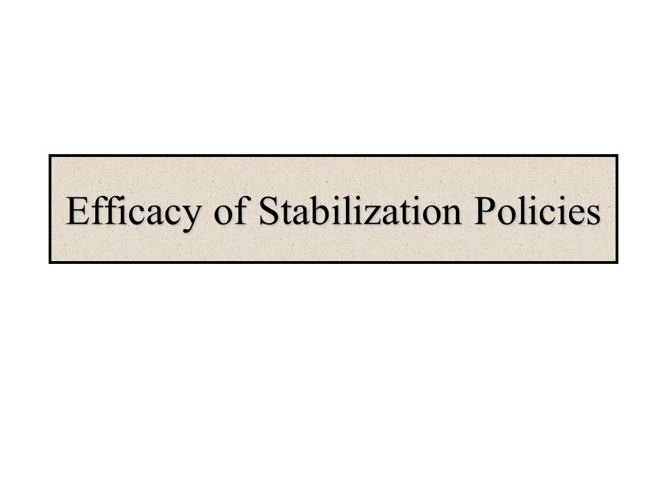 Efficacy of Stabilization Policies