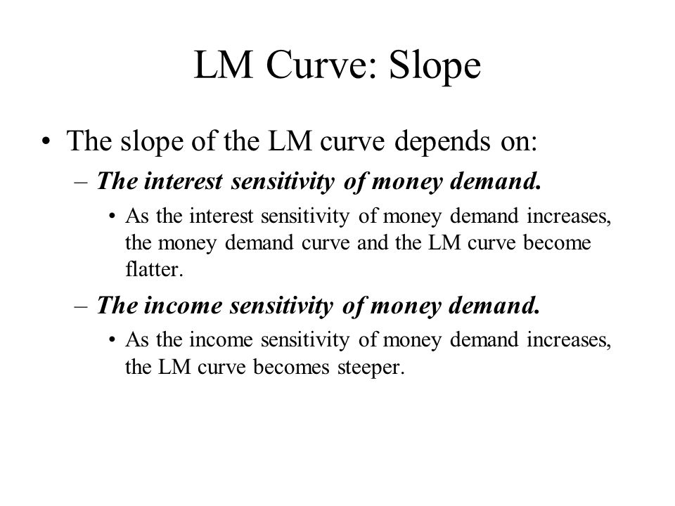 LM Curve: Slope The slope of the LM curve depends on: