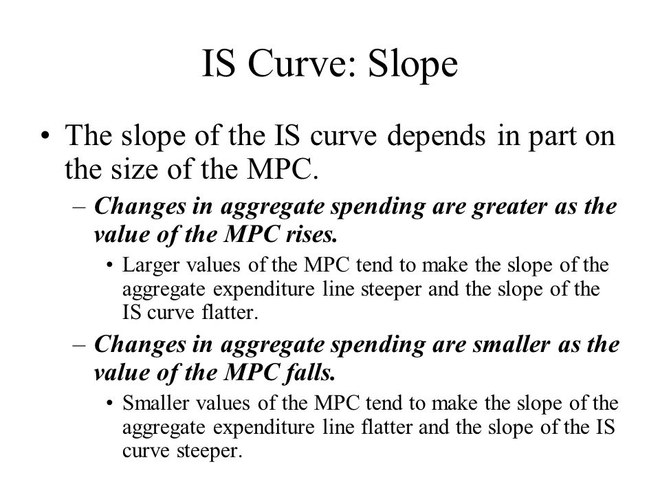 IS Curve: Slope The slope of the IS curve depends in part on the size of the MPC.