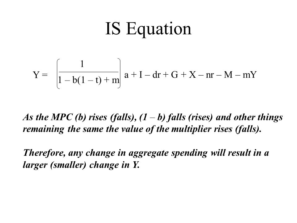 IS Equation 1 Y = a + I – dr + G + X – nr – M – mY 1 – b(1 – t) + m