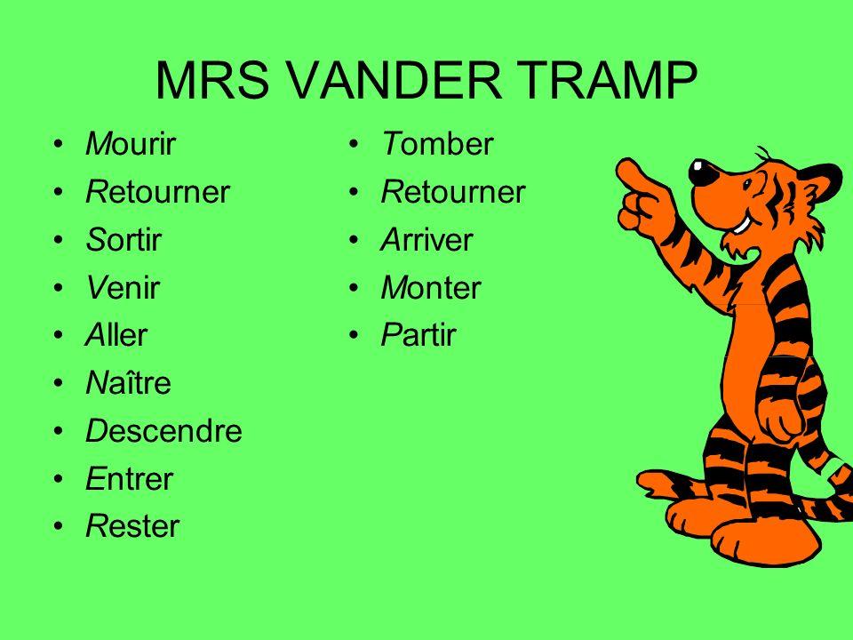 MRS VANDER TRAMP Mourir Retourner Sortir Venir Aller Naître Descendre