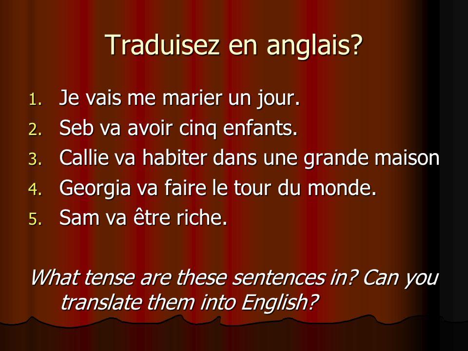 Traduisez en anglais Je vais me marier un jour.