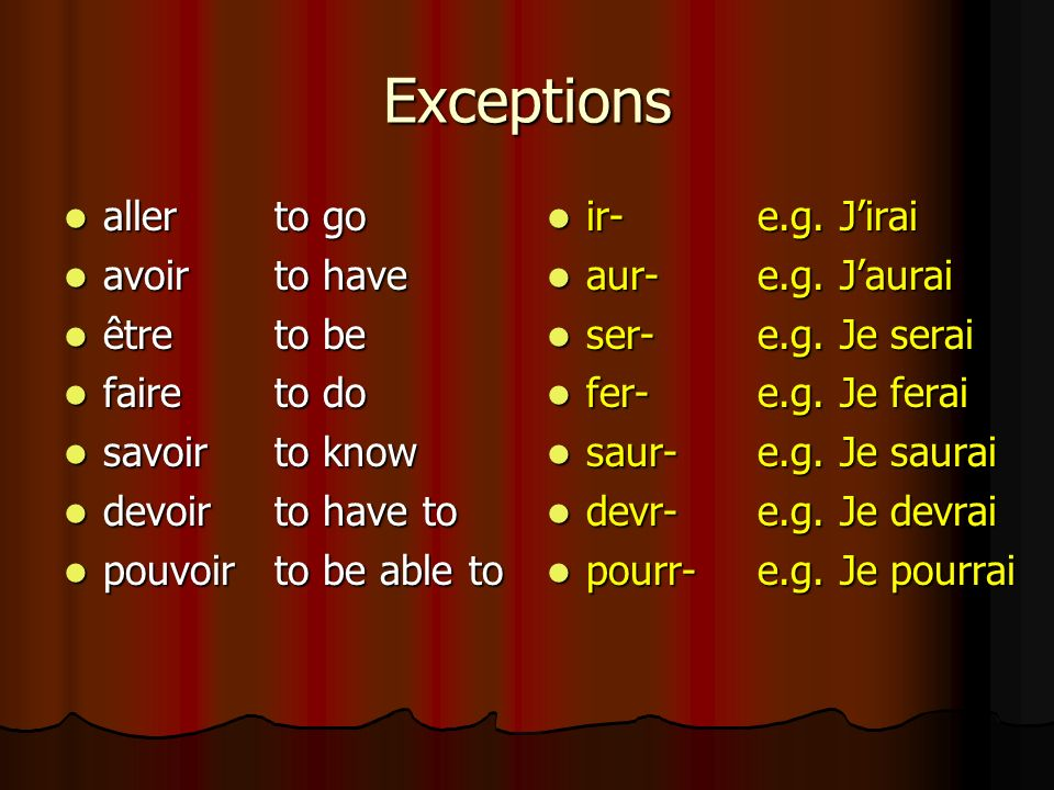 Exceptions aller to go avoir to have être to be faire to do