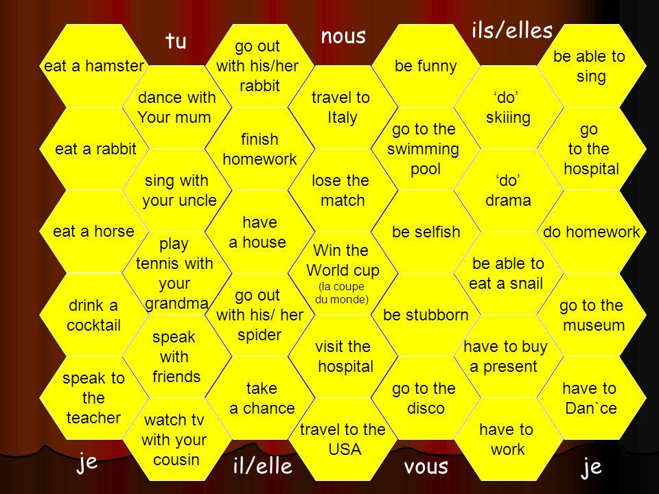 ils/elles nous tu je il/elle vous je eat a hamster go out with his/her