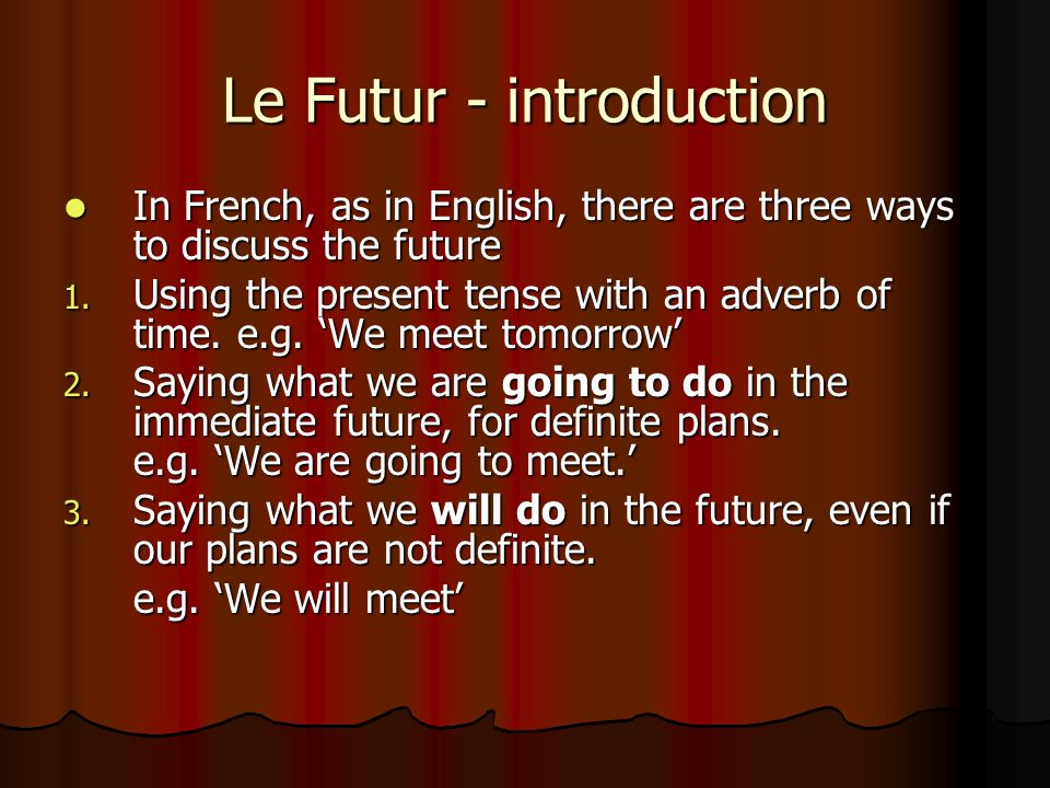 Le Futur - introduction