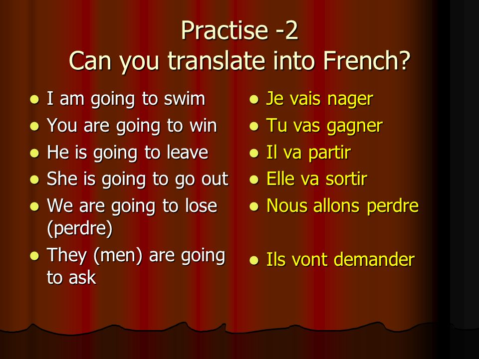 Practise -2 Can you translate into French