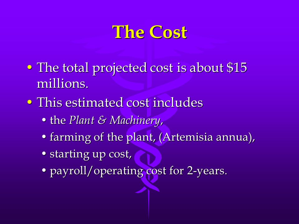 The Cost The total projected cost is about $15 millions.