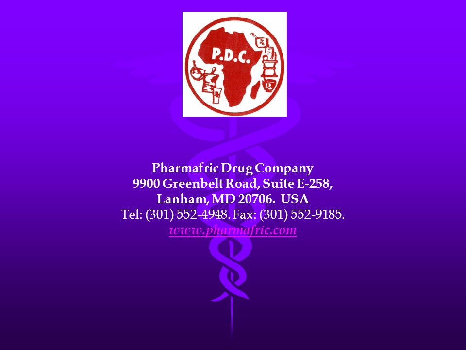 Pharmafric Drug Company 9900 Greenbelt Road, Suite E-258,