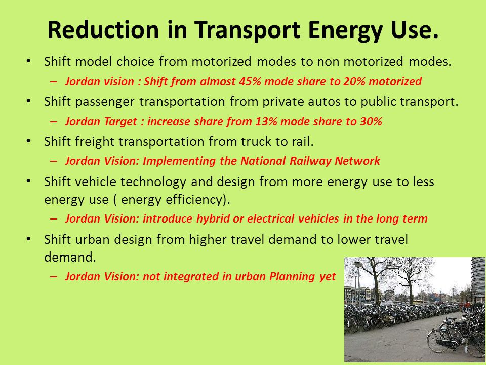Reduction in Transport Energy Use.