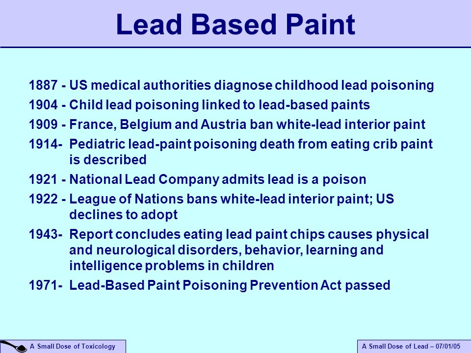 An introduction to the health effects of lead ppt video for When was lead paint banned