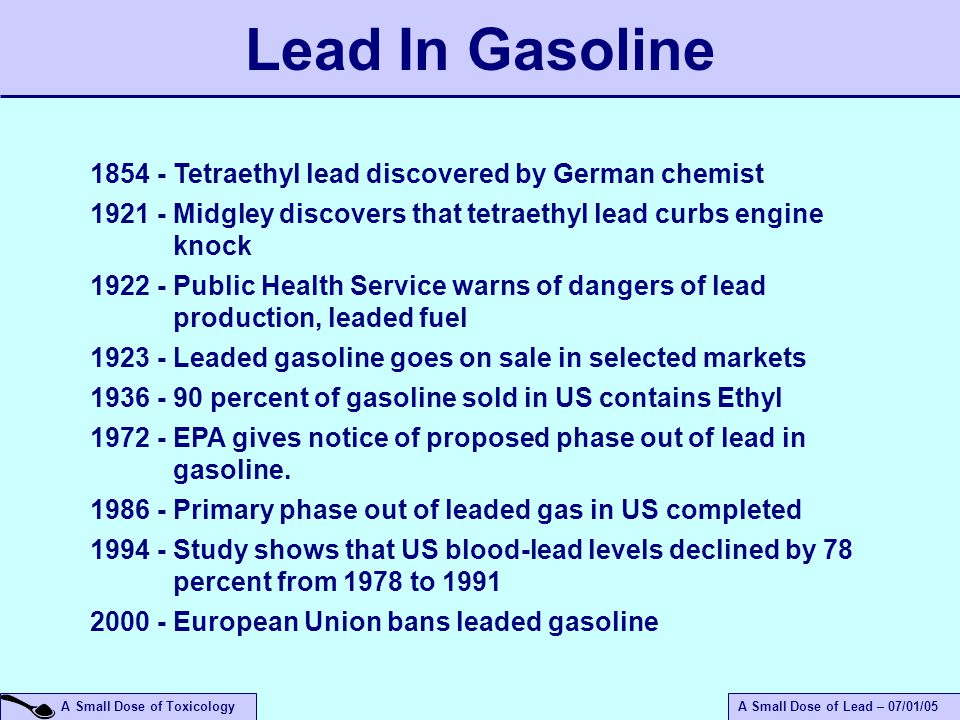 an introduction to the history of the gasoline Lead was outlawed as an automotive gasoline additive in this country in 1986–more than sixty years after its introduction–to enable the use of emissions-reducing.