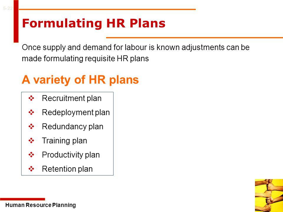 Formulating HR Plans A variety of HR plans