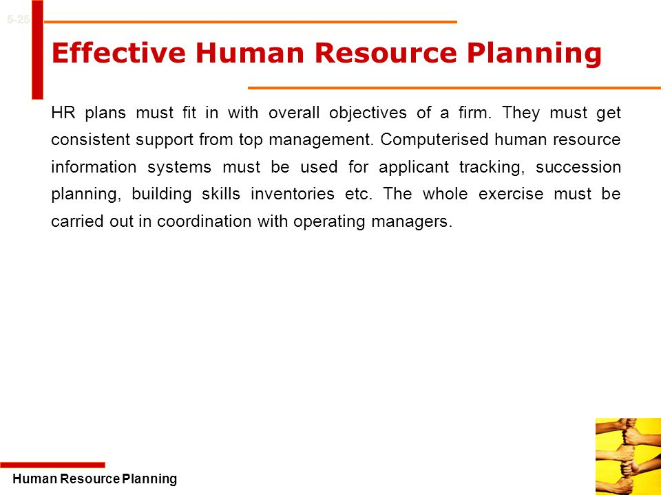 effective human resource planning Human resource planning can improve operational efficiency and increase the profitability of a business of any size hr planning doesn't, however, include making staffing decisions on the fly a strategic hr policy can eliminate confusion, streamline the hiring process and save precious time for a .