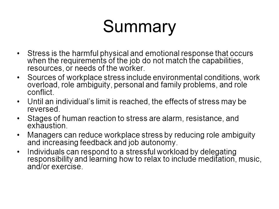 a summary of stress Stress affects people in different ways, but a balanced lifestyle can help you   summary stress is when you feel under pressure to do something and think you .