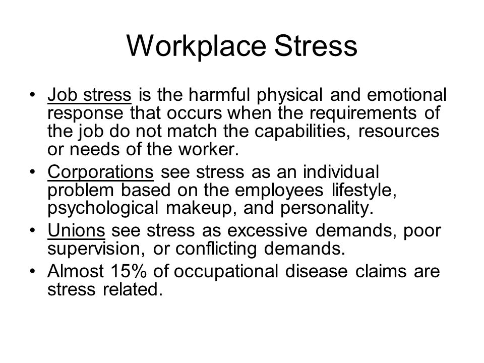 occupational stress the problem and its Occupational stress and employee control this major insight into how occupational stressors affect health and well-being has led to ongoing improvements in the.