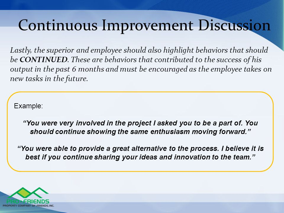 Continuous Improvement Discussion
