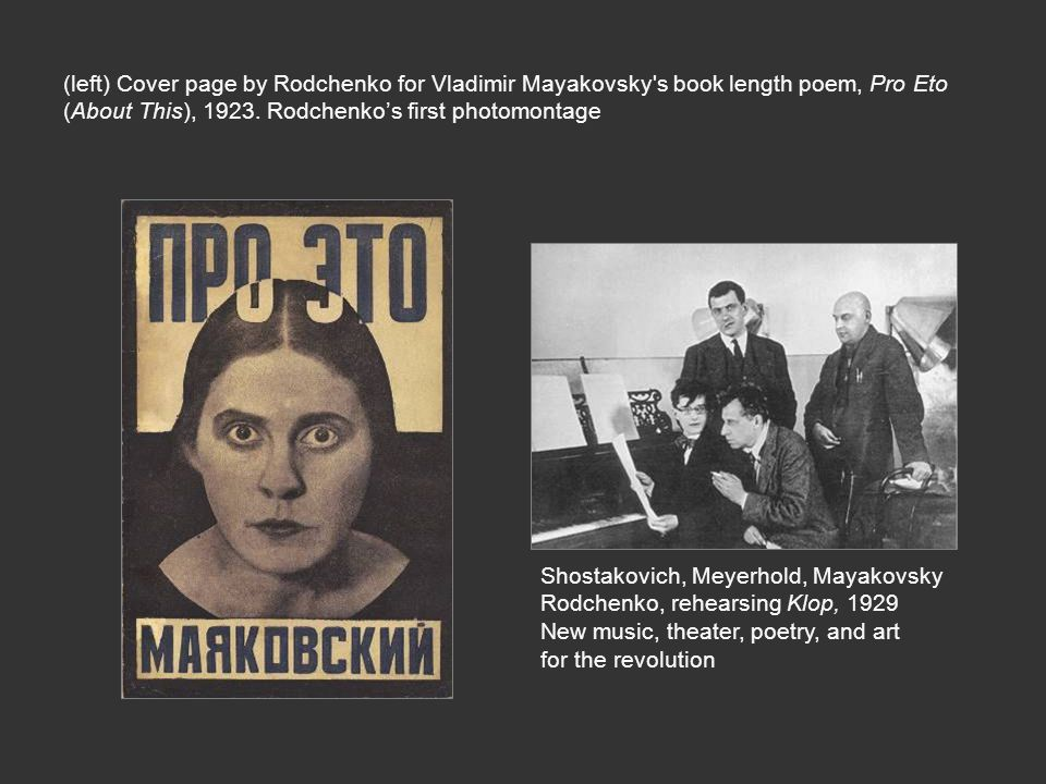 meyerhold and mayakovsky revolution and the Around 1931, meyerhold's productions and techniques started to fall out of favour with stalinists and his 1930 production of mayakovsky's the bathhouse is considered by many to be a satire of the soviet and stalinist elite mayakovsky committed suicide soon after this production.