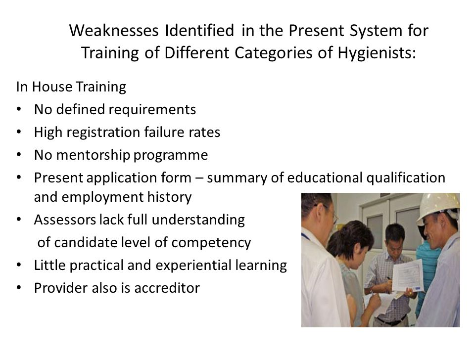 Weaknesses Identified in the Present System for Training of Different Categories of Hygienists: