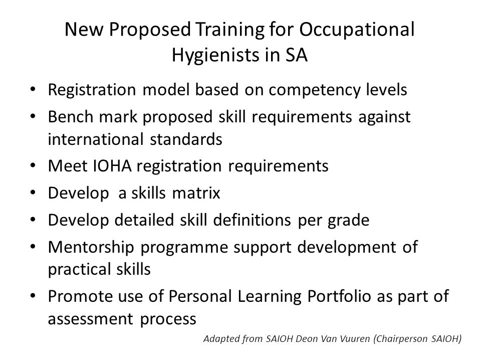 New Proposed Training for Occupational Hygienists in SA