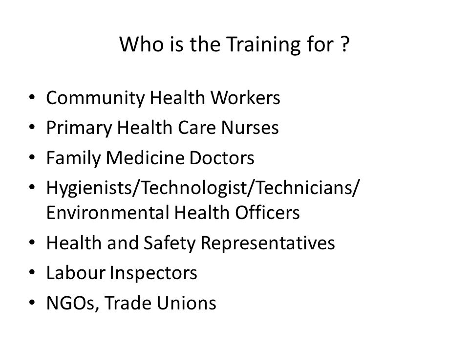 Who is the Training for Community Health Workers