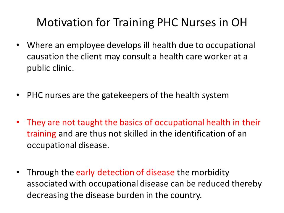 Motivation for Training PHC Nurses in OH