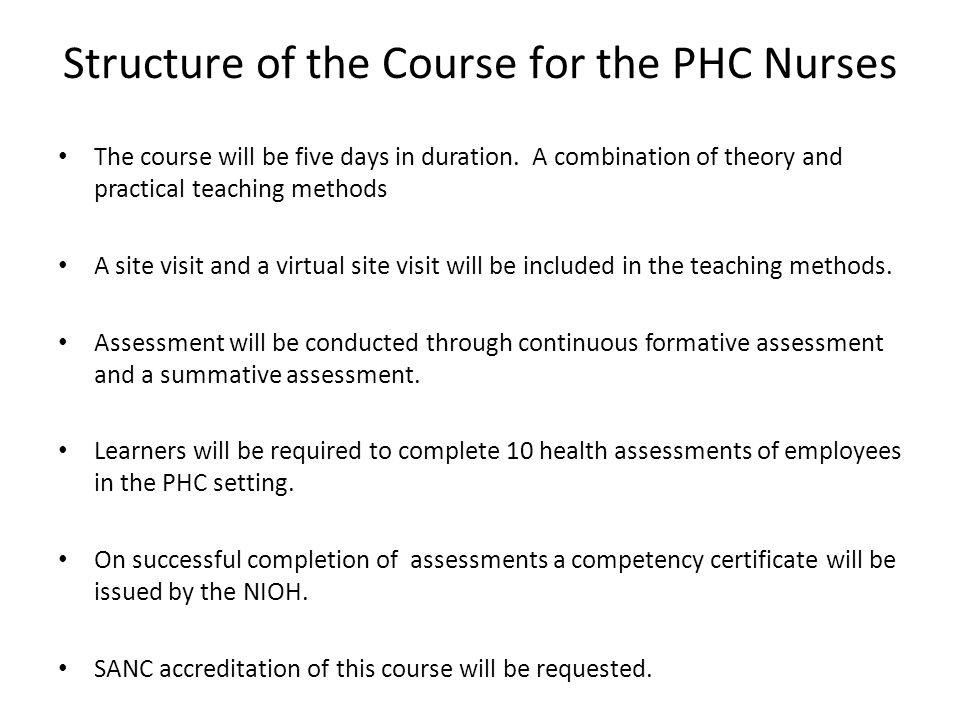 Structure of the Course for the PHC Nurses
