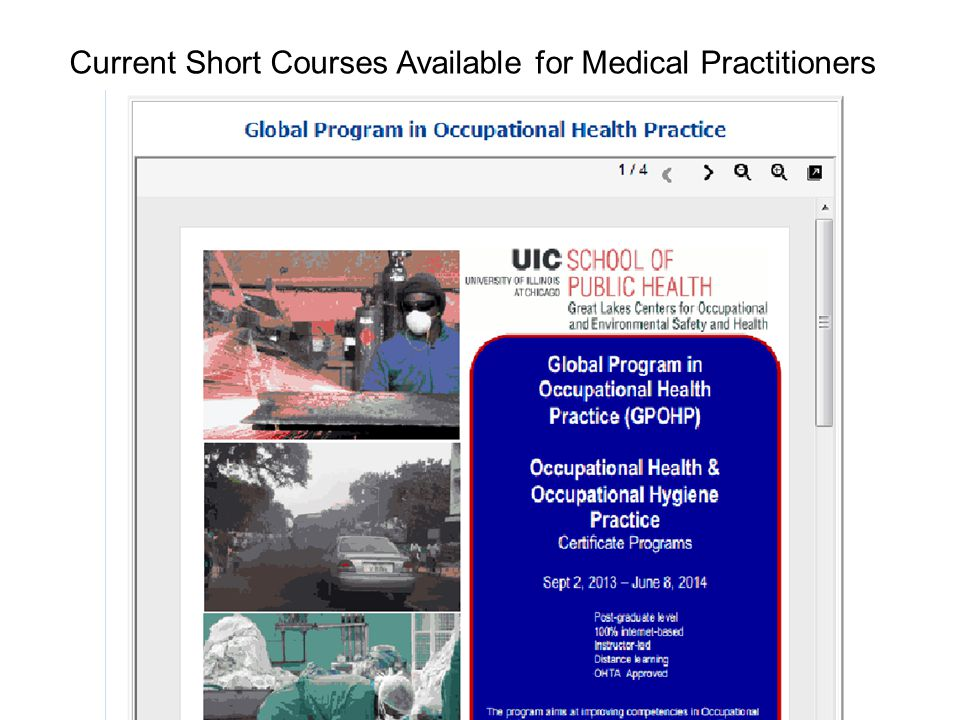 Current Short Courses Available for Medical Practitioners