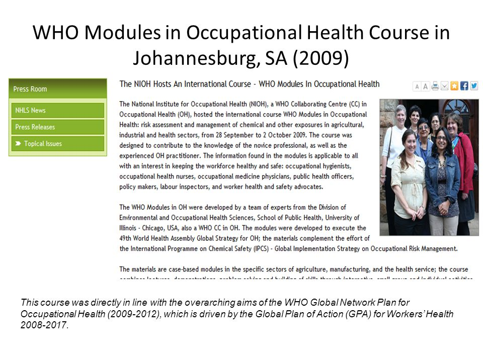 WHO Modules in Occupational Health Course in Johannesburg, SA (2009)