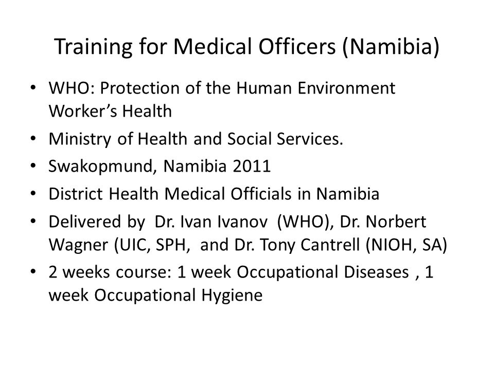 Training for Medical Officers (Namibia)