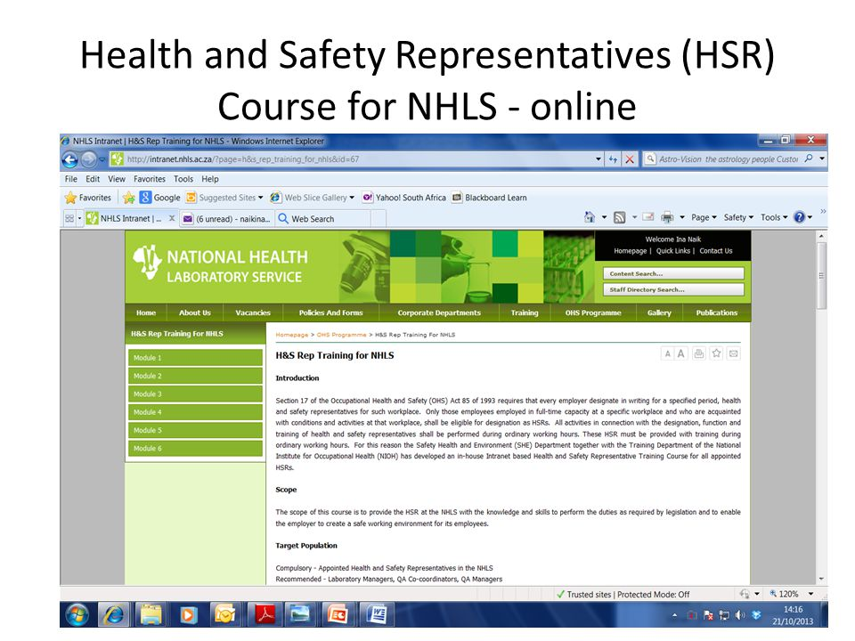 Health and Safety Representatives (HSR) Course for NHLS - online
