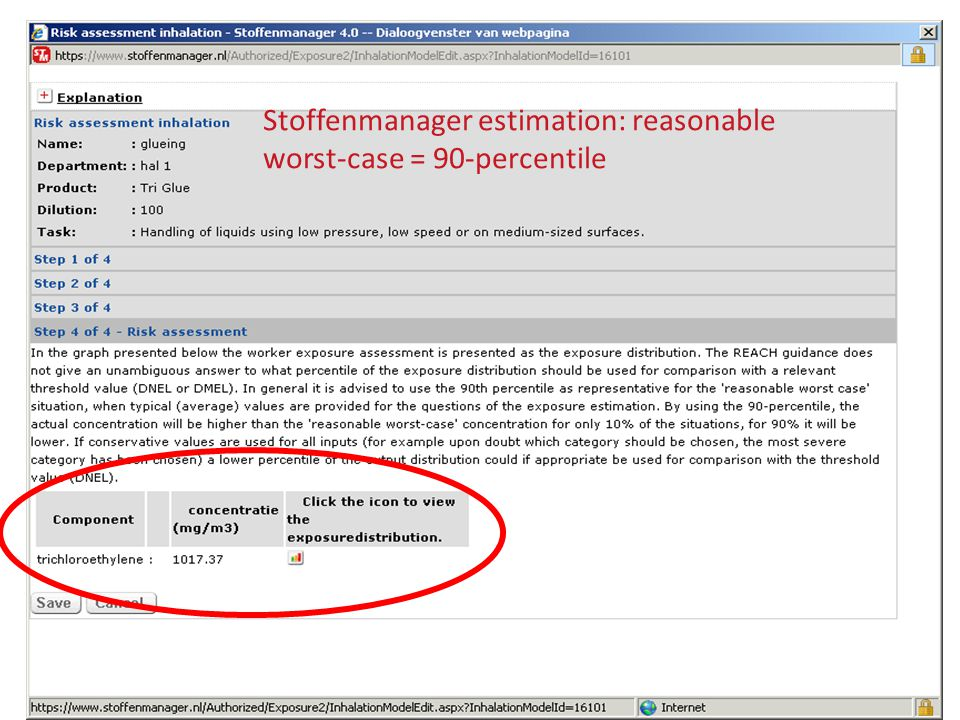 Stoffenmanager estimation: reasonable worst-case = 90-percentile
