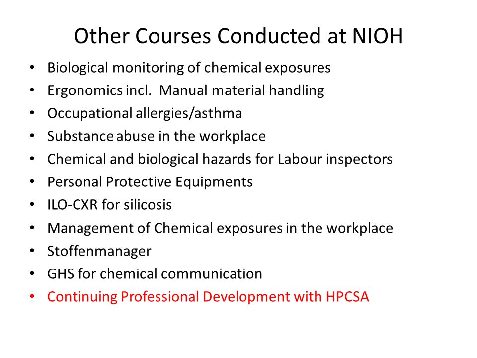Other Courses Conducted at NIOH