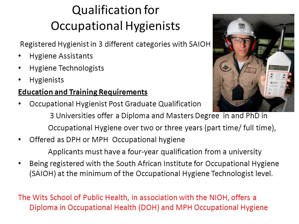 Qualification for Occupational Hygienists