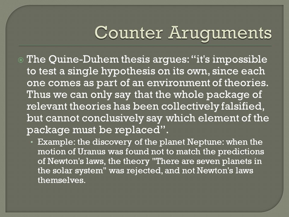 The Duhem-Quine Thesis Reconsidered – Part One