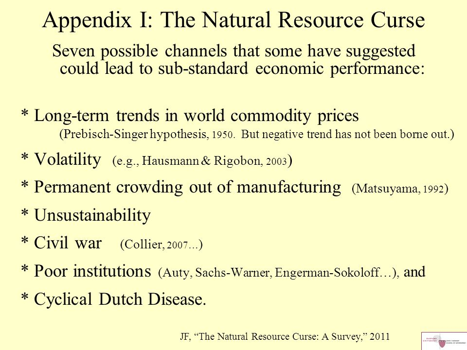causes of the natural resource curse It is striking how often countries with oil or other natural resource wealth have failed to grow more rapidly than those without this is the phenomenon known as the natural resource curse the principle has been borne out in some econometric tests of the determinants of economic performance across.