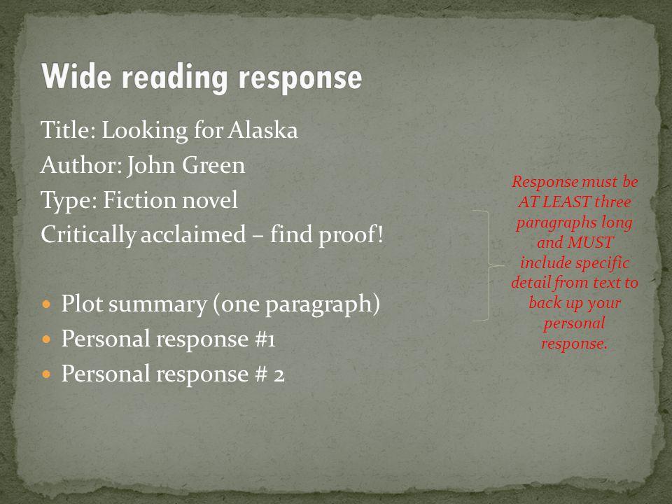 Looking For Alaska Summary: Level 2 Extended Written Text Study 3 Credits Externally