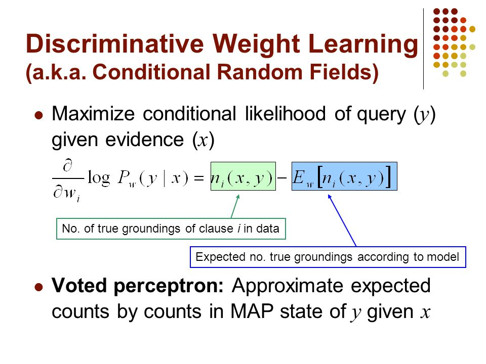Discriminative Weight Learning (a.k.a. Conditional Random Fields)